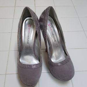 Gray Snakeskin High Heels